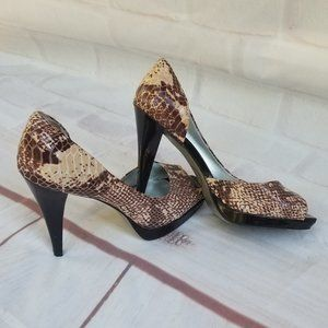 Jessica Simpson Leather Peep Toe Snake Print Heels